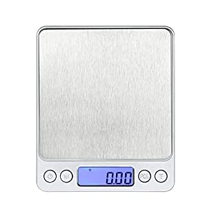 Masione® 2packs 2000g By 0.1g Digital Pocket Scale Jewelry Scale Weigh Scale Kitchen Gold Silver Coin Gram LCD Backlight Display (2packs)