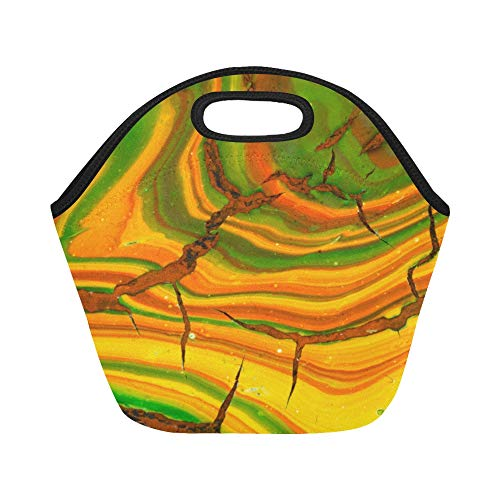 (Insulated Neoprene Lunch Bag Jade Green Design Style Elegant Retro Large Size Reusable Thermal Thick Lunch Tote Bags Lunch Boxes For Outdoor Work Office School)