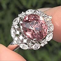 lertchaiHuge 7.2CT Pink&White Topaz 925 Silver Jewelry Wedding Engagement Ring Size 6-10 (7)