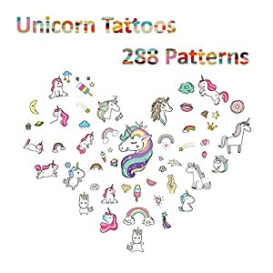 Unicorn Temporary Tattoos for Kids Birthday Party, Waterproof Unicorn Tattoo Stencil Unicorn Party Supplies 16 Sheets, 288 Tattoos