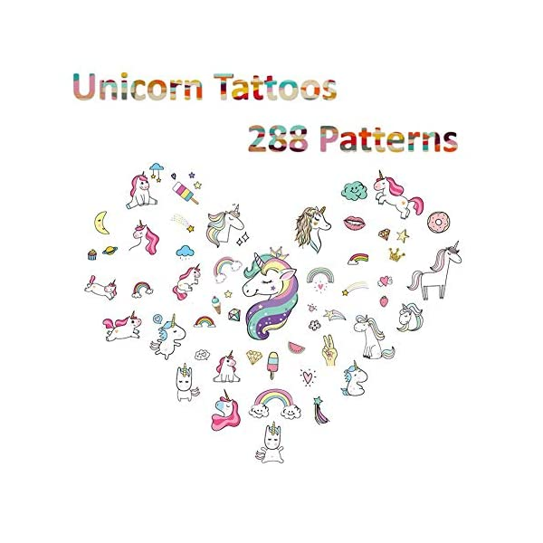 Unicorn Temporary Tattoos for Kids Birthday Party, Waterproof Unicorn Tattoo Stencil Unicorn Party Supplies 16 Sheets, 288 Tattoos 4