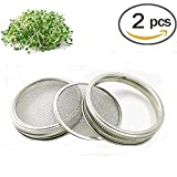 Stainless Steel Sprouting Lids for Wide Mouth Mason Jars - Strainer Lid for Canning Jars and Seed...