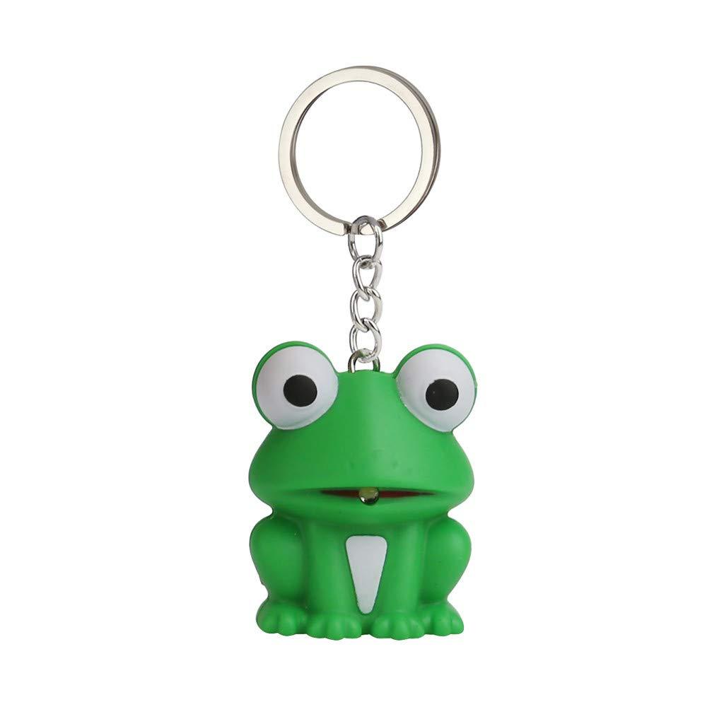 Emerayo Cute Animal Keychain Flashlight Kids Toy Gift with LED Light and Sound Keyfob (Green Frog, One)