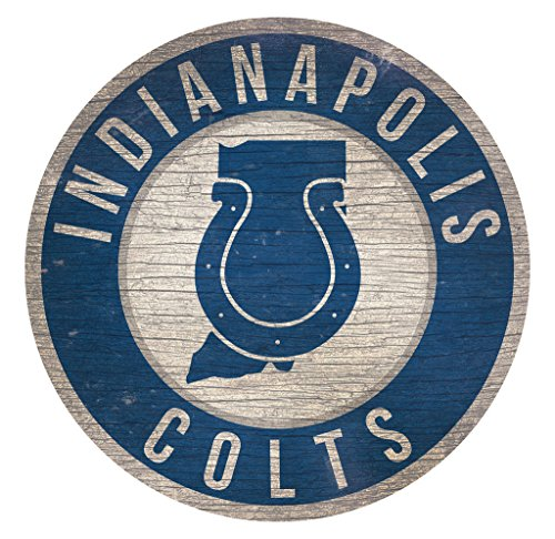 Fan Creations Indianapolis Colts Wood Sign 12 Inch Round State Design ()