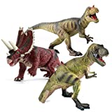 "EAHUMM 9"" to 13"" Jurassic Age Realistic Looking T-Rex Big Dinosaurs Action Figure Educational Toys Set Jumbo Plastic Model Pack of 3"