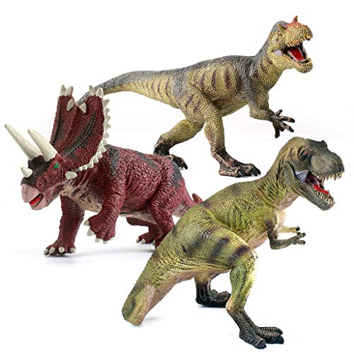 """EAHUMM 9"""" to 13"""" Jurassic Age Realistic Looking T-Rex Big Dinosaurs Action Figure Educational Toys Set Jumbo Plastic Model Pack of 3 ..."""