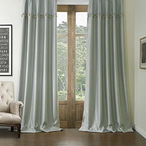 KoTing Home Fashion Modern Polyester Gray Unique Diamond Square Plaid Geometry Embossing Room Darkening Window Curtains Drapes Grommet Top,1 Panel,72 by 84-Inch
