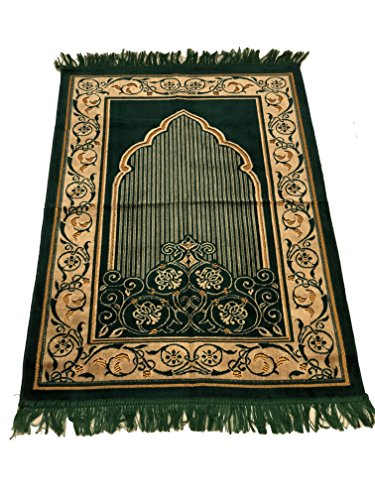 Best Quality Velvet Flower Pattern Islamic Prayer Rug Janamaz Sajjadah Muslim Namaz Seccade Turkish Prayer Rug Carpet (Green) by Sparkle Trade