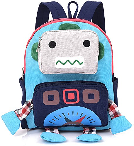 Backpack Robot - Small Toddler Kid Backpack Strap Robot Baby School Preschool Bag Zoo Neutral Turquoise