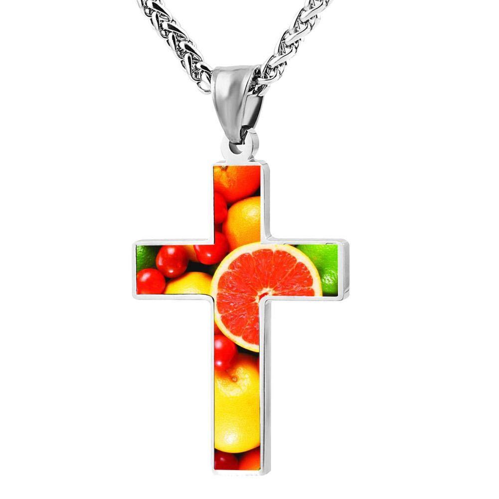 Elcacf Prayer Cross Necklace,Funny Fruit Platter Print Graphic Religious Pendant