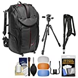 Manfrotto Pro Light Pro-V-610 PL DSLR Video Camera Backpack & 290 Xtra 67.5'' Professional Tripod with 3-Way Head + Sling Strap + Kit