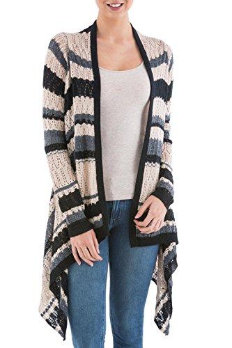 NOVICA Grey and Black Striped Cardigan Sweater, Nighttime Mirage