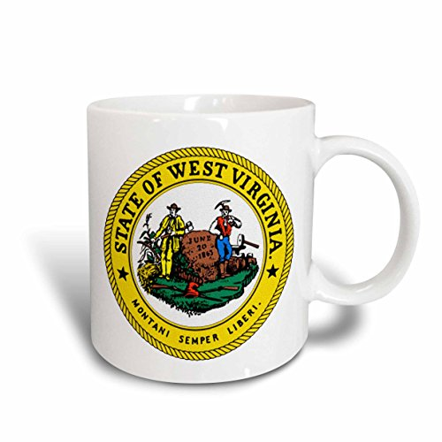 Virginia State Seal - 3dRose State Seal of West Virginia Ceramic Mug, 15-Ounce