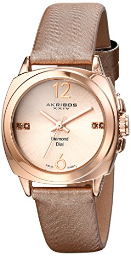 Mop Dial Square (Akribos XXIV Women's AK742 Swiss Quartz Movement Watch with Rose Gold Sunburst Effect Dial and Beige Satin over Nubuck Leather Strap (Rose Gold))