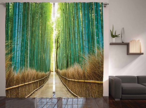 Ambesonne Bamboo Forest in Japan Collection, Panoramic View of Historic Landscape Park Photo Print, Window Treatments, Living Kids Girls Room Curtain 2 Panels Set, 108 X 84 Inches, Light Green ()