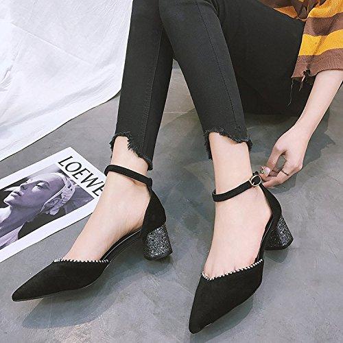 Zapatos Negro High De Primavera El La Sandalias Femenino Hueco Punta Con Ganó Gruesos Heel Shoes Nombre De Mujer En Mujer Único De Zapatos GAOLIM Ranurada Zapatos Correa qIFwaa