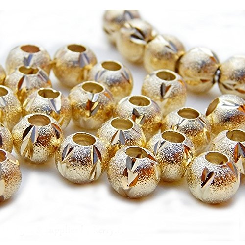 10 Pcs Gold Tone Stardust Spacer Beads for Snake Chain Charm (Gold Tone Bead Bracelet)