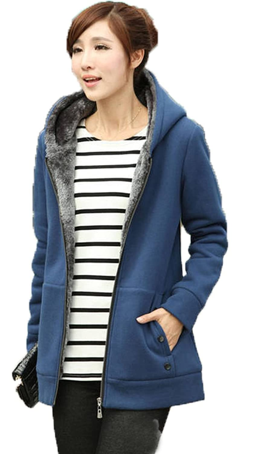 Jusfitsu Women's Fleece Hoodies Casual Winter Faux Fur Zip Up Coat Jacket Outerwear Plus Size (UK XS-3XL)
