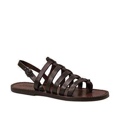 093076174ee877 Gianluca - Handmade Women s Dark Brown Calf Leather Sandals Sandals - Size   10 US