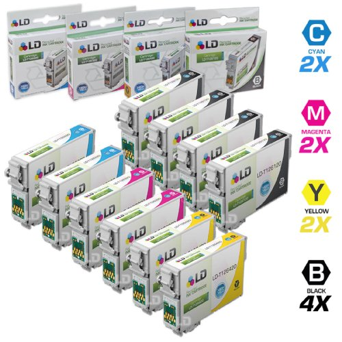 LD Remanufactured Epson 126 / T126 Set of 10 Ink Cartridges (4 Black 2 Cyan 2 Magenta 2 Yellow) for Stylus NX330, NX430 & WorkForce 435, 520, 545, 630, 645, 840, WF3520, WF3530, WF7010, WF7510