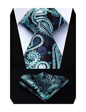 HISDERN Paisley Tie Handkerchief Woven Classic Men's Necktie & Pocket Square Set (Aqua & Purple)