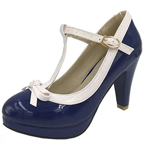 TAOFFEN Women Elegant High Heel Party Pumps T-Strap Solid Shoes Blue