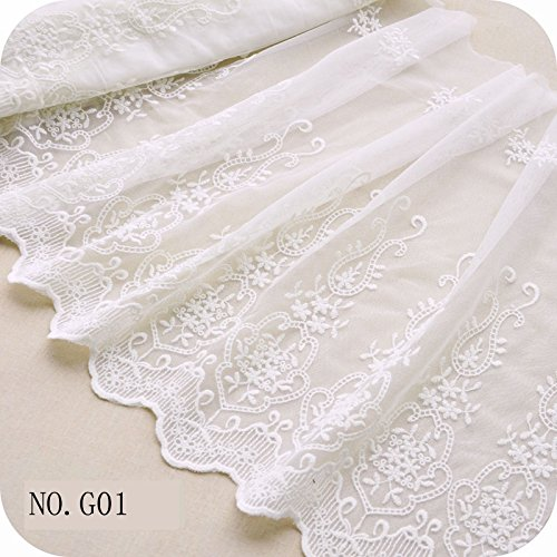 "17.7"" Width Ivory White/Black Antique Retro Floral Embroidered Mesh Lace Dress Edge Lace Trim Fabric Ribbon Wedding Bridal Veils Craft Tulle Lace Trim (G01 White)"