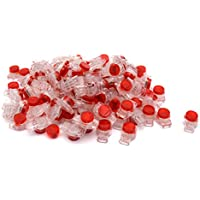 Antrader 100 Pcs Data Phone Wire Butt Splice 3 Ports UR Connectors Red Clear