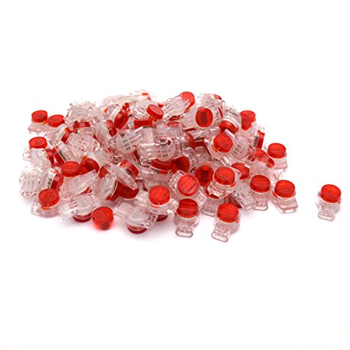 Antrader 100 Pcs Data Phone Wire Butt Splice 3 Ports UR Connectors Red Clear ()