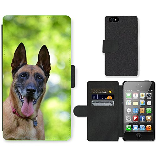 Just Phone Cases PU Leather Flip Custodia Protettiva Case Cover per // M00128731 Belge Malinois Portrait Berger // Apple iPhone 4 4S 4G
