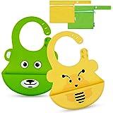Lictin 2 Pcs Baberos Silicona impermeable super suave Para Bebé con 2 bolsas de almacenamiento a