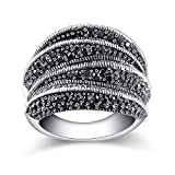 Mytys Vintage Silver Cocktail Rings Fashion Black Marcasite Stone Ring for Women Girl (8)