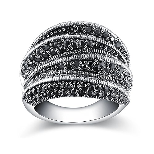 Mytys Fashion Black Marcasite Ring Vintage Jewelry Silver Rings for Women (8) (Fashion Women Rings)