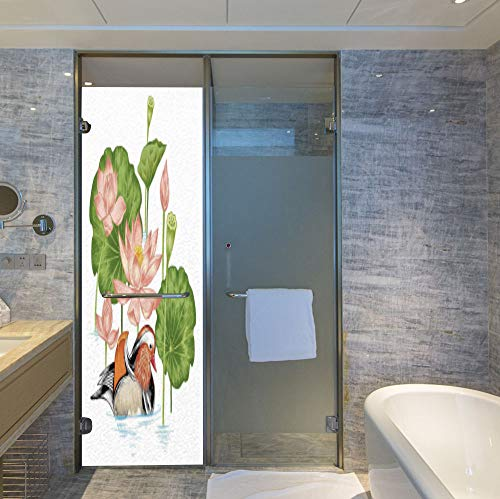 - YOLIYANA Frosted Window Film Stained Glass Window Film,Duck,Work Well in The Bathroom,Baby Mandarin Duckling in Pond with Lotus Lily,24''x78''