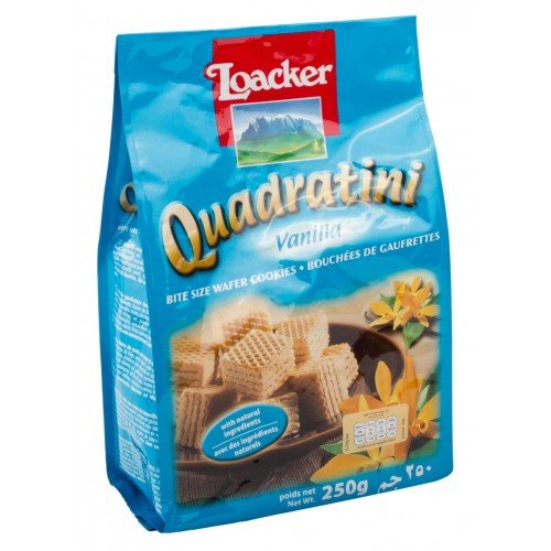 Loacker Quadratini Bite Size Wafer Cookies Filled with Vanilla Cream 8.82 Oz/250g (Pack of 3),Exquisite wafer creation with real vanilla ,Vanilla cream filled wafer cubes (74% cream - Mint Cookies Keebler
