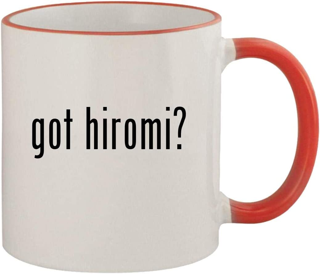 got hiromi? - 11oz Ceramic Colored Rim & Handle Coffee Mug, Red