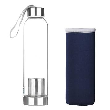 Baoblaze Botella de Agua Cristal para Escalada Roca Montañismo Senderismo Acampada Facil de Usar - azul