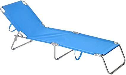 Lettino prendisole in alluminio blu x campeggio mare piscina richiudibile