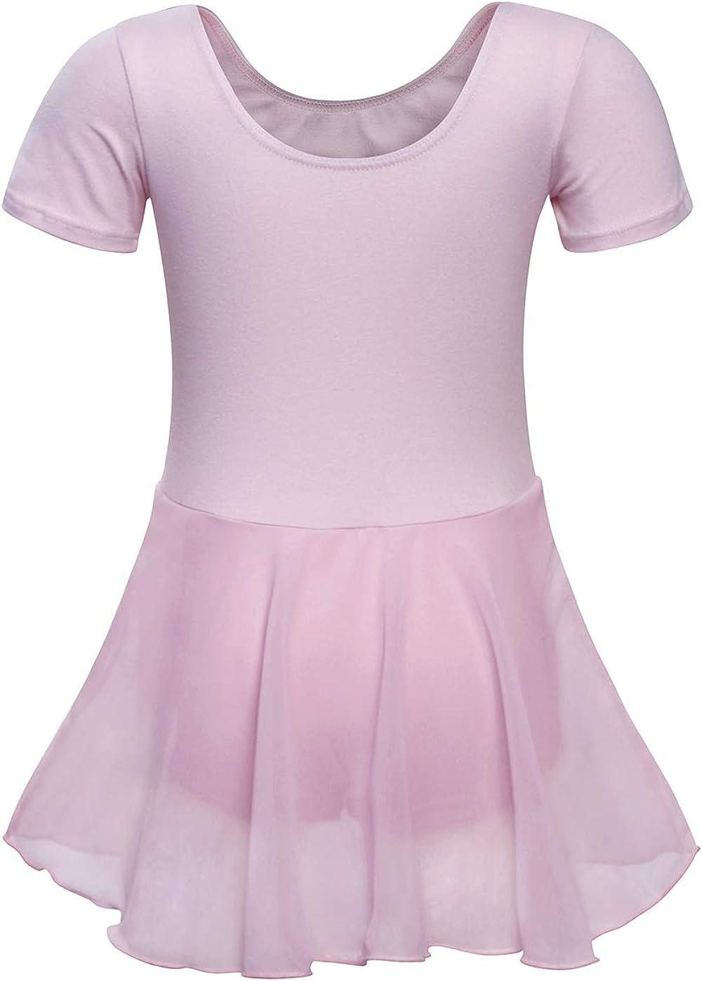 AmzBarley Gimnasia Maillot de Danza Leotardo Traje Vestido de Ballet para Ni/ñas de Ballet Equipamiento B/ásico con Falda Envolvente Disfraz Bailarina