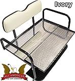 ''Modz'' Yamaha G16/22 Golf Cart ''All American'' Rear Flip Back Seat Kit - Ivory Cushions - Diamond Plate Deck