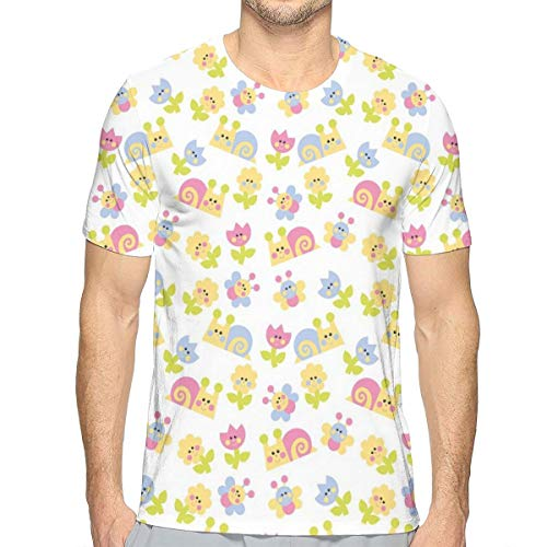 3D Printed T Shirts,Nature Inspired Drawing Style Happy Slugs Dandelions Tulips and Butterflies