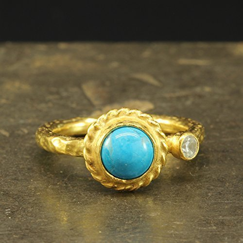 Natural Turquoise Ring 925 Sterling Silver 24K Gold Vermeil Handcrafted Hammered Designer Hand Forged Stackable Stacking Gemstone Ring