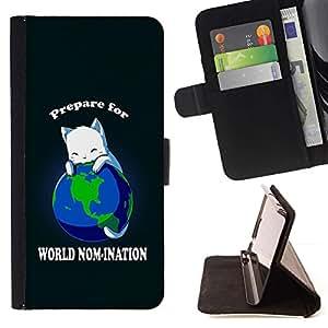 Momo Phone Case / Flip Funda de Cuero Case Cover - Mundial Planeta Tierra Cat Gobernante Rey blanco Anime - Samsung Galaxy E5 E500