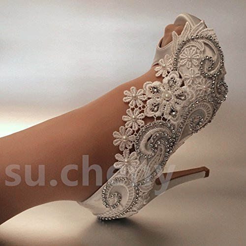 771710e4c79c JINGXINSTORE White Silk Lace Open Toe Crystal Wedding Shoes Bride