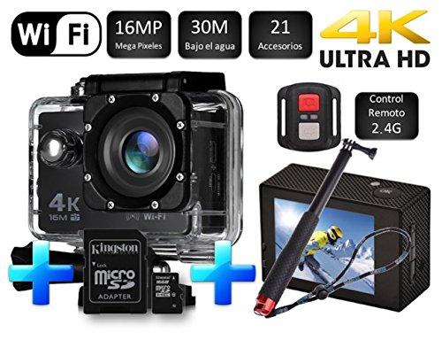 Cámara SJ Pro 4K WiFi + Micro SD 16GB + Monopod 52CM · Deportiva Y Acuática 60FPS HD 16MP · LCD HD 2'