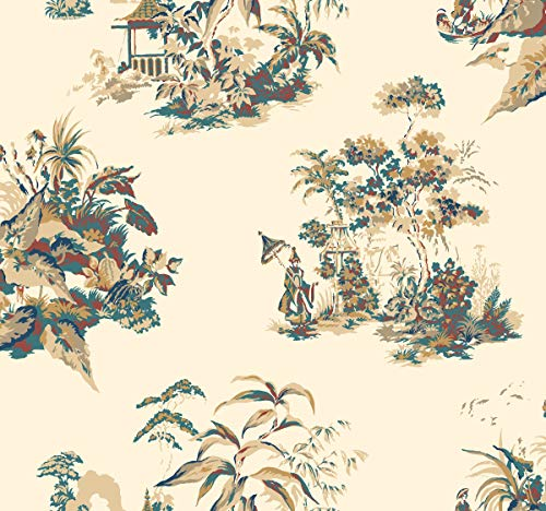 (York Wallcoverings AF1994 Ashford Toiles Oriental Scenic Removable Wallpaper Blue/Metallic Gold)