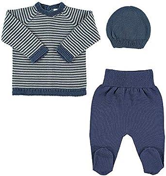 Petit Oh! - Conjunto de Punto para bebé de Jersey, Polaina y Gorro. 100% algodón (0-1 Mes (NB), Azul Marino): Amazon.es: Ropa y accesorios