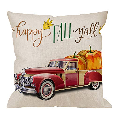HGOD DESIGNS Pumpkin Square Pillow Cushion Cover,Happy Fall Y'all Truck Pumpkin Cotton Linen Cushion Covers Home Decorative Throw Pillowcases 18x18inch,Yellow,Red