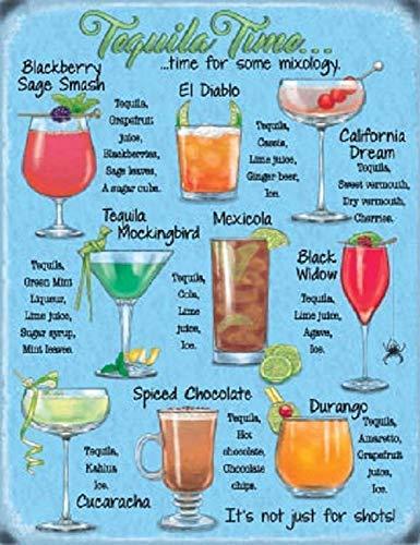 HarrodxBOX Tequila Plaque Cocktail Recipe Drink Kitchen Bar Steel Plaque Metal Sign for Home Wall Art Decor Post Plaque for Women Men]()