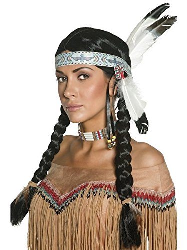 Smiffy's Women's Native Indian Wig, Black with Braids and Feather Headband, One Size, 42042 (Halloween Costumes With Colored Wigs)